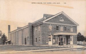 Ayer Massachusetts~Fort Devens~Army Post Theatre~1940s Sepia Litho Postcard