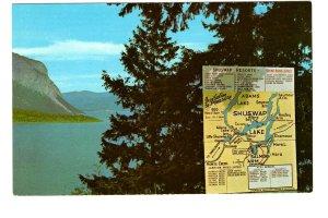 Shuswap Lake Map, British Columbia,