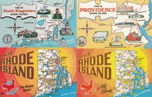 Rhode Island South Kingstown 4x Map Postcard s