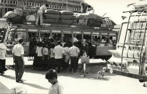 cambodia, KAMPONG THOM, Loading Bus with Luggage and People (1967) RPPC Postcard