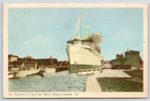 Ontario Canada~Sault Ste. Marie~SS Assiniboia~Burned and Sank 1967~1946 Postcard