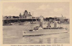 Empress of Britain in front of Chateau Frontenac, Quebec, Canada, 10-20s