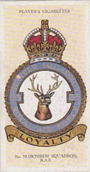 Player Vintage Cigarette Card R A F Badges N0 24 No 33 Bomber Squadron  1937