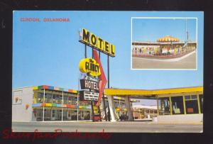 CLINTON OKLAHOMA ROUTE 66 GLANCY'S MOTEL VINTAGE ADVERTISING POSTCARD