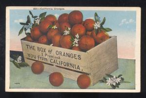 CALIFORNIA ORAGNES BOX OR ORANGES ORANGE VINTAGE ADVERTISING POSTCARD