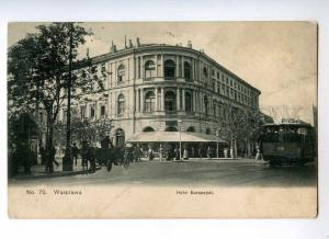 247046 POLAND Warszawa Hotel European TRAM Vintage postcard
