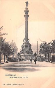 Spain Old Vintage Antique Post Card Monumento de Colon Barcelona Unused