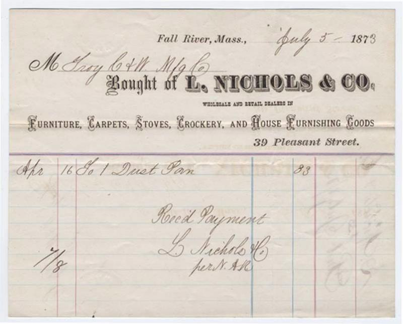 1873-4 Billhead, L. NICHOLS & CO., Furniture, Carpets, Fa...