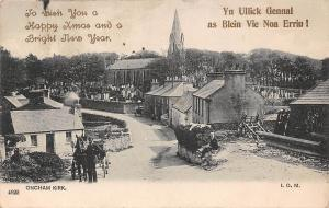 I.O.M. Oncham Kirk. Carriage, Happy Xmas Christmas, Bright New Year! 1903