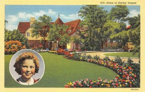 Home of SHIRLEY TEMPLE Movie Star Hollywood Actress c1930s Vintage Postcard