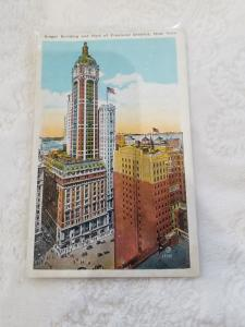 Antique Postcard entitled, Singer Building and Part of the Financial District
