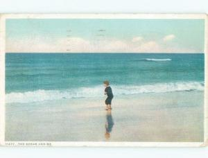 Divided-Back CHILD ON SHORELINE OF BEACH Postmarked Portland Maine ME d8376
