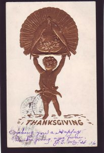 P1615 1906 thanksgiving postcard embossed with old stamp