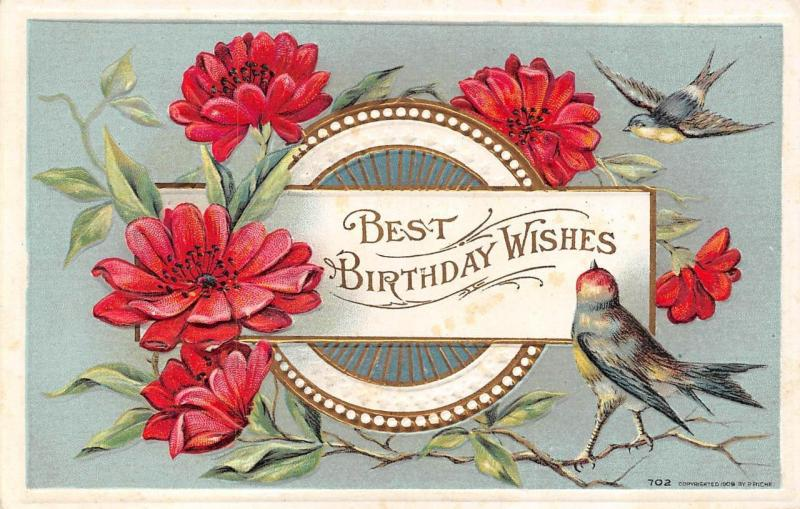 BEST BIRTHDAY WISHES Greeting FLOWERS BIRDSLightly Embossed 1909 Postcard