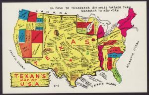 Texan's Map of USA Postcard