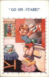Comicus - Little Boy Getting Jelly From Cupboard c1915 Postcard GOLDFISH