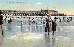 In the Surf LONG BEACH, CA Beach & Pier 1911 Vintage Postcard