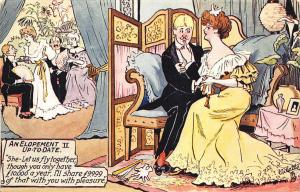 Raphael Tuck An Elopement Up-To-Date Signed Charles Pett Postcard 2