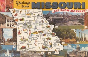 Greetings from MISSOURI, 1971; Map, and 11-views