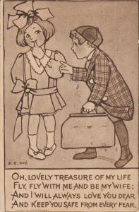 AS: Boy approaching girl wearing big bow in hair, Poem, 00-10s
