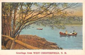 West Chesterfield New Hampshire Row Boat Waterfront Antique Postcard K93070
