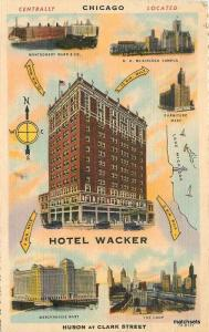 1940s Hotel Wacker Chicago Illinois linen postcard 6282 Teich
