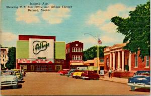 DeLand Florida~Indiana Avenue~US Post Office~Athens Theatre~1950s Cars~Linen PC