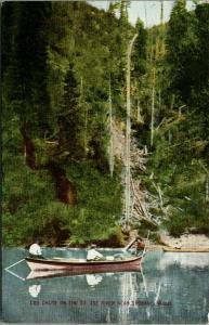 Spokane Washington~Log Chute on St Joe River~3 Men in Rowboat~c1910 Postcard