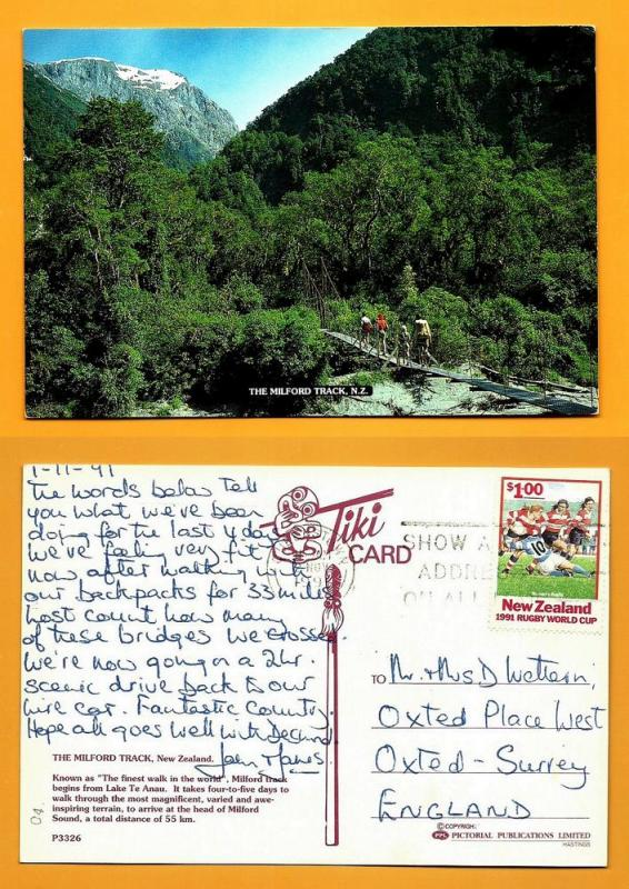 NEW ZEALAND POSTCARD-STAMP-THE MILFORD TRACK N.Z