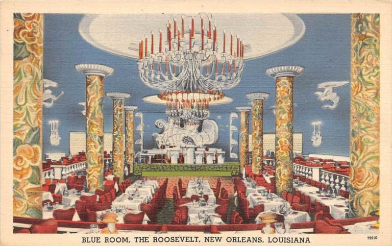 4405 LA new Orleans 1940's   The Roosevelt Blue Room DInning room and Ba...