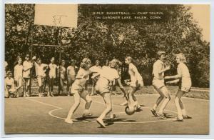 Basketball Game Girls Camp Trupin Gardner Lake Salem Connecticut postcard