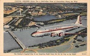 Washington DC Capital Airlines Airplane Vintage Postcard JJ649253
