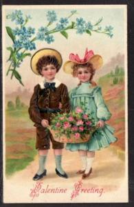 Valentine Greeting Children Flowers Postcard 5955