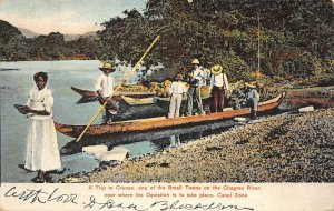 Dugout Canoe Party Chagres River Panama Canal Zone 1908 postcard