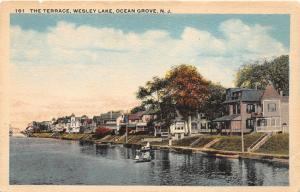 Ocean Grove New Jersey~Wesley Lake The Terrace~Small Boats by Shore~1920s PC