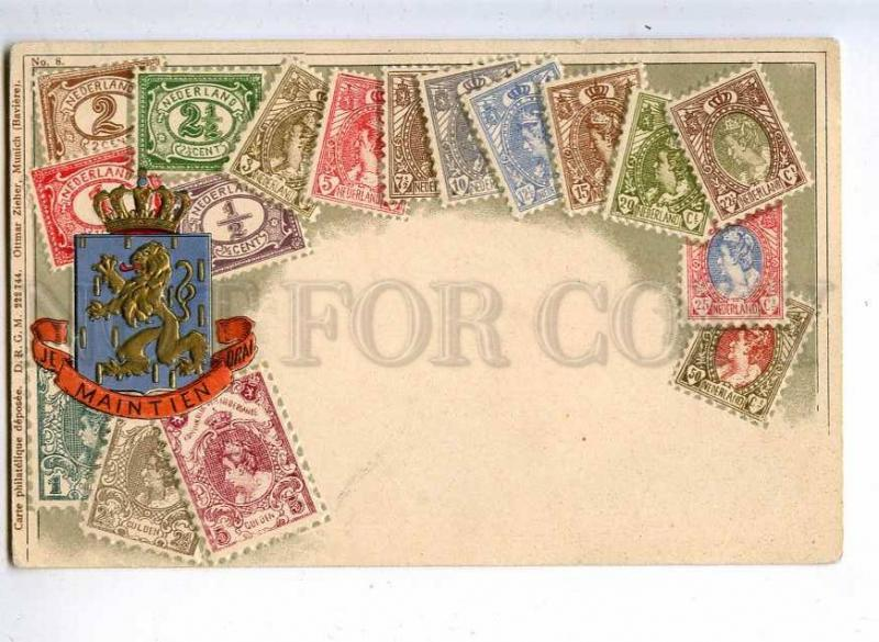 231912 Netherlands Coat of arms STAMPS Vintage embossed Zieher