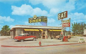 Lake Park City FL Lou's Restaurant Diner Old Cars Postcard
