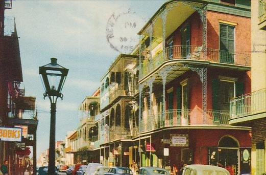 Bookstore, Classic Cars, Saint Peter Street, New Orleans, Louisiana, PU-1965