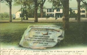 Boulder showing line of March, Lexington to Concord, Mass...