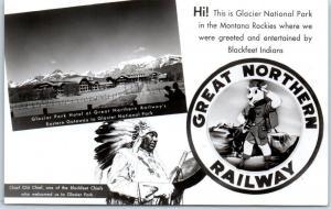 Glacier National Park RPPC Photo Postcard GREAT NORTHERN RAILWAY Hotel Indian