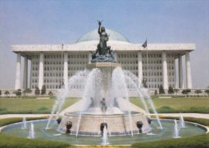 SOUTH KOREA, 1950-1970´s; View on the National Assembly Building, Fountain