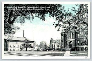 Webster City IA~Lincoln High~St Thomas Catholic Church~Courthouse~1941 Bluesky