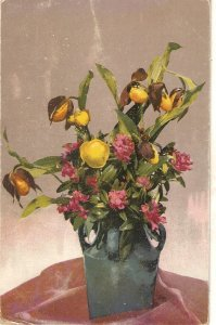 Flowers in vase Nice old vintage postcard