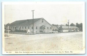 Postcard MD Fort George Meade Main Post Exchange Headquarters c1940s L11