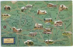 The Cotswolds Map Card, England, UK , Chrome