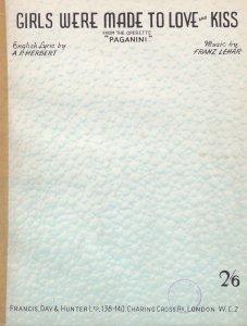 Girls Were Made To Love & Kiss Paginini 1950s Sheet Music