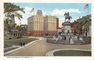 A54/ Richmond Virginia Va Postcard c1915 Hotel Richmond Monument St Pauls Church