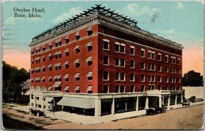 Boise, Idaho Postcard OWYHEE HOTEL w/ Pasadena CA Post Card Club Ad on Back