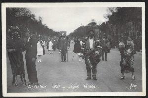 People In Street American Legion Parade Convention FRANCE RPPC Unused c1927