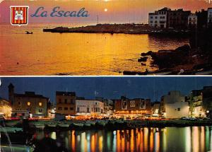 Spain Costa Brava La Escala Panorama Sunset Harbour Boats